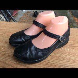 Dansko Black Leather Mary Jane Sandals Size 38/8